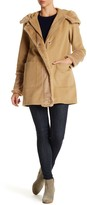 DKNY Hooded Faux Fur Wool Blend Coat