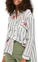 Topshop Women's Floating Floral Embroidered Shirt