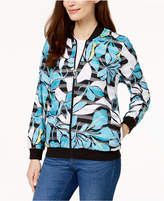 Alfred Dunner Petite Play Date Printed Bomber Jacket