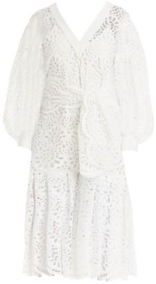 Carolina Herrera Lace Eyelet Dramatic Puff-Sleeve V-Neck Tie-Waist Flounce Midi Dress