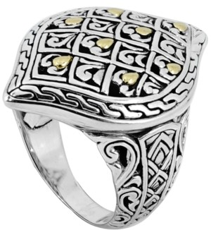 Devata Dragon Skin Signature Ring in Sterling Silver and 18k Yellow Gold Accents