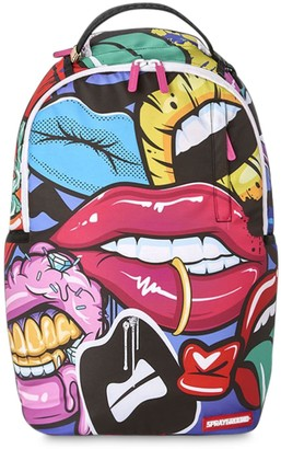 Sprayground Lips Printed Canvas Backpack