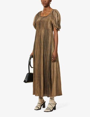 Puffed-sleeve cotton and silk-blend maxi dress
