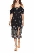 Band of Gypsies Women's Print Cold Shoulder Midi Dress
