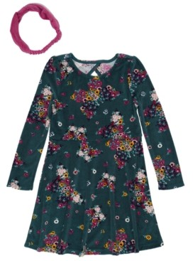 Epic Threads Toddler Girls Long Sleeve Floral Print Velour Dress with Headwrap