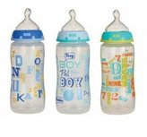 Gerber Nuk Whimsy Trendline 3 Bottles with Silicone Nipples- Boys Color