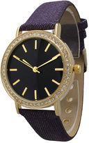 OLIVIA PRATT Olivia Pratt Womens Gold-Tone Rhinestone Accent Purple Denim Faux Leather Strap Watch 14087