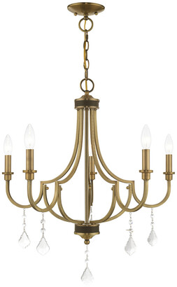 Livex Lighting Prague 5 Light Antique Brass Chandelier With