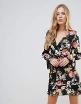 Oh My Love Floral Wrap Frill Long Sleeve Dress