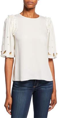 Kobi Halperin Krissy Embellished Elbow-Sleeve Silk Blouse