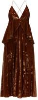 Françoise Francoise - Peplum-waist Tinsel-velvet Midi Dress - Womens - Brown
