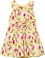 Rachel Riley Yellow Magnolia Print Pleated Dress