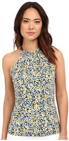 MICHAEL Michael Kors Leather Trim Neck Halter Top