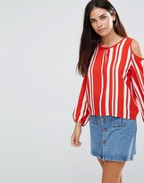 TFNC Striped Top With Cold Shoulder Detail