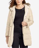 Lauren Ralph Lauren Plus Size Faux-Fur-Trim Down Puffer Coat, Only at Macy's