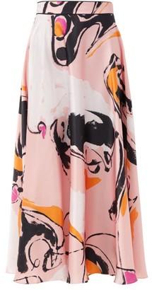 Roksanda Colvin Abstract-print Silk-satin Skirt - Pink Multi