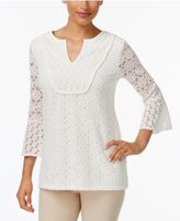 Charter Club Mixed-Lace Bell-Sleeve Tunic, Created for Macy's