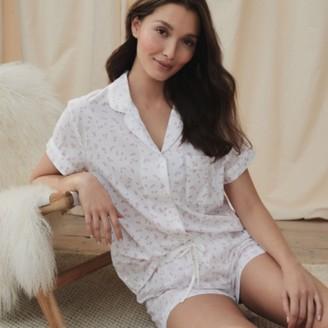 The White Company Cotton Heart-Print Short Pyjama Set, White/Pink, Extra Small