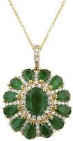 Effy Jewelry Gemma Emerald and Diamond Flower Pendant, 4.19 TCW