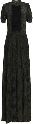 Vionnet Metallic Chiffon Ruffle-paneled Stretch-knit Silk Gown