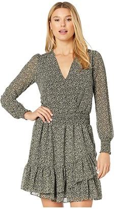 MICHAEL Michael Kors Ruffle Wrap Dress (Black/Evergreen) Women's Dress