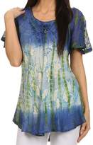 Sakkas 14783 - Dina Relaxed Fit Sequin Tie Dye Embroidery Cap Sleeves Blouse / Top - OS