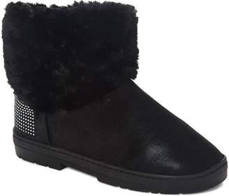 Via Rosa VIA ROSA Women's Cold Weather Boots Black - Black Rhinestone Shimmer Faux Fur Ankle Boot - Women