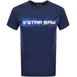 G Star Raw Crew Neck Camouflage T Shirt Blue