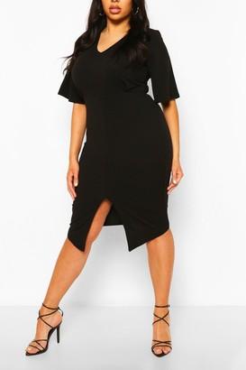 boohoo Plus Kimono Sleeve Wiggle Midi Dress
