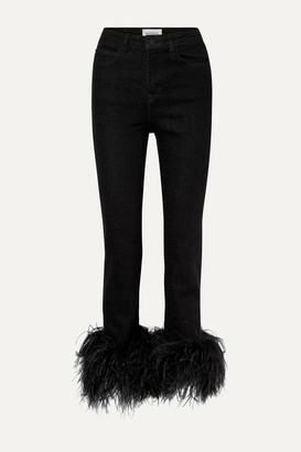 16Arlington Feather-trimmed High-rise Straight-leg Jeans - Black