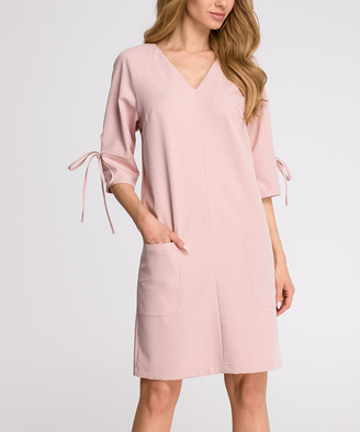 Stylove Clothing Women's Casual Dresses POWDER - Powder Pocket Tie-Sleeve Shift Dress - Women