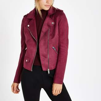 River Island Womens Burgundy faux suede biker jacket
