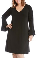Karen Kane Plus Size Women's Taylor Bell Sleeve A-Line Dress