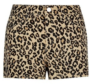 Dorothy Perkins Womens Leopard Print Cotton Blend Shorts