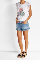 Missoni Printed Cotton Blend T-Shirt with Lace Sleeves