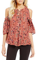 Takara Cold-Shoulder Floral-Print Top