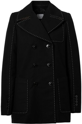 Burberry Topstitched Cotton Pea Coat