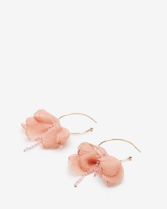 Express Beaded Fabric Flower Hoop Earrings