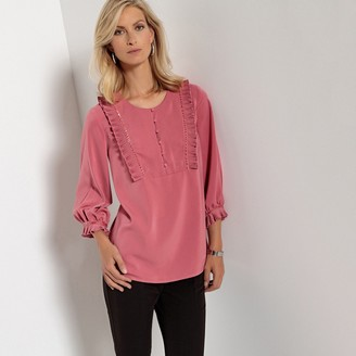 Anne Weyburn Long-Sleeved Round Neck Blouse