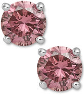 Macy's 14k White Gold Earrings, Treated Pink Diamond Stud Earrings (1-1/2 ct. t.w.)