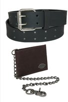 Dickies Men's Leather Chain Wallet and Two Hole Bridle Belt