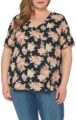 Pleione Short Sleeve Floral Print Blouse (Plus Size)