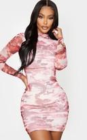 Above Be Shape Pink Oriental Print High Neck Mesh Bodycon Dress
