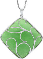 FINE JEWELRY Cushion-Cut Dyed Green Jade Sterling Silver Filigree Pendant Necklace