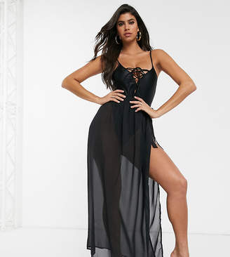 South Beach tie waist beach skirt-Black