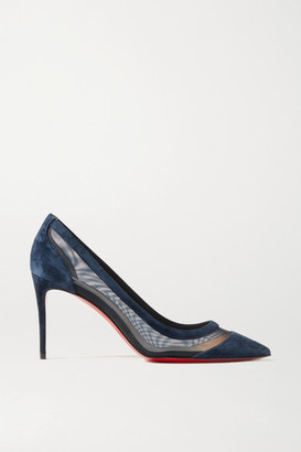 Christian Louboutin Galativi 85 Suede And Mesh Pumps - Navy