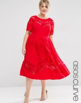 Asos Premium Pleated Midi Dress with Lace inserts