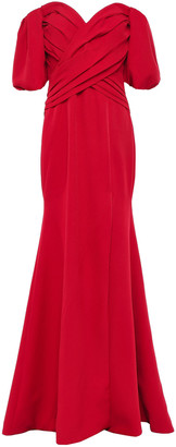 Rachel Gilbert Amalia Off-the-shoulder Split-front Crepe Gown