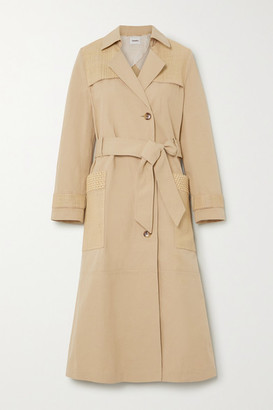 Nanushka Alex Vegan Leather-trimmed Cotton And Linen-blend Canvas Trench Coat - Sand