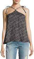 Rebecca Taylor Sweet Briar Sleeveless Halter Tank Top, Black Pattern